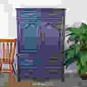 Queen Anne Style Blue Highboy Dresser