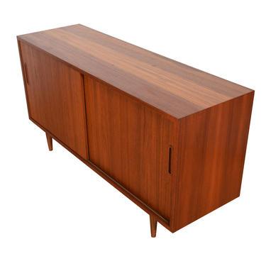 Compact Danish Teak Sideboard \/ Media Cabinet with Sliding Doors