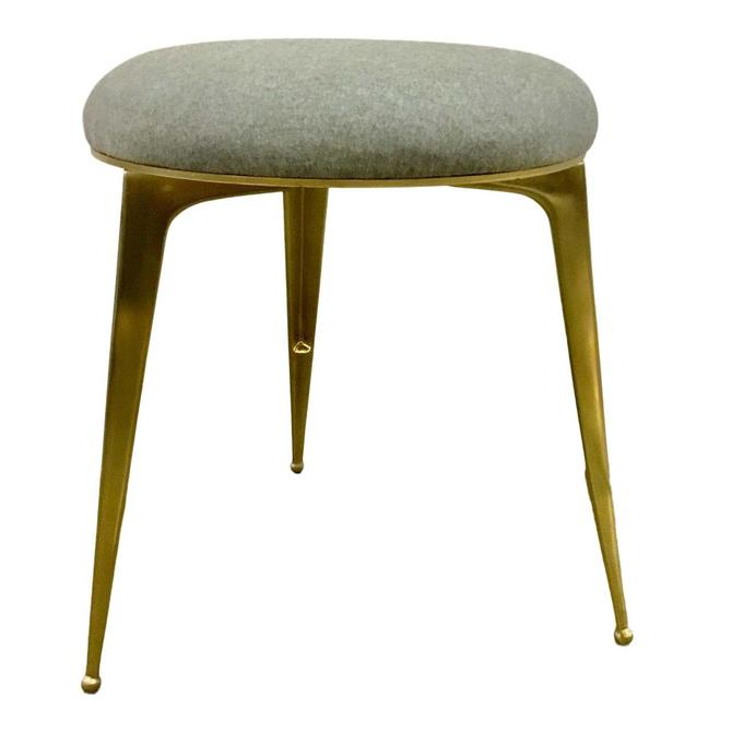 Ej Victor Modern Round Gray Wool and Brass Stool