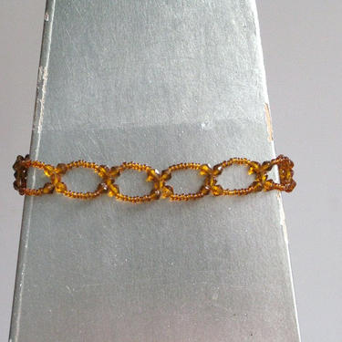 Vintage Amber Glass Bead Choker Necklace by circlethesquare