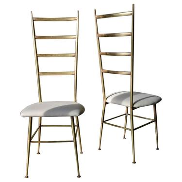 Brass Gio Ponti Style Italian Ladder Back Chairs, circa 1970