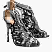 Alexandre Birman - Black & Beige Snakeskin Caged Stilettos Sz 9.5