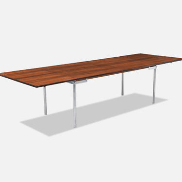 """Hans J. Wegner """"AT-319"""" Rosewood & Steel Drop-Leaf Dining Table for Andreas Tuck"""
