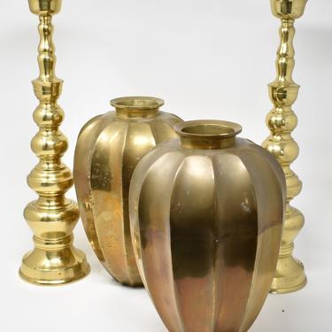 Brass Midcentury Decor | Candlesticks Pair | Vase Urn Pair | Beautiful Housewarming Gift | Engagement Gift | Boho Tablescape Centerpiece by LostandFoundHandwrks