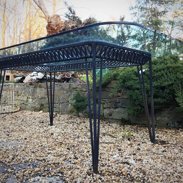 Giant Salterini Wrought Vintage Mid-Century Black Iron Ribbon Patio Table Glass by CabinModernist