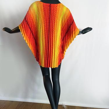 Vintage 60s 70s Hawaiian Caftan Mini Dress | Orange Yellow Red Tribal Tiki Pleated Barkcloth| Groovy MOD Beach Pool Swimsuit Cover up 1 Size by elliemayhems