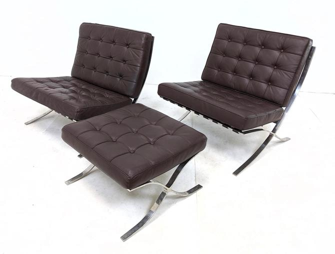 Barcelona-style Pair of Chairs and Ottoman