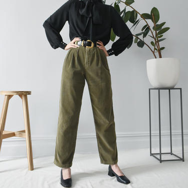vintage olive green corduroy pants, 90s high waisted trousers, size M by ImprovGoods