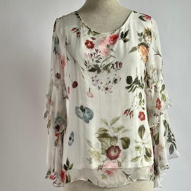 Beautiful Silk Flowy Floral Blouse Fits S - L by BeggarsBanquet