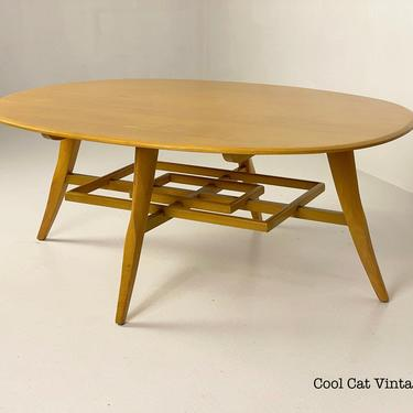 Heywood Wakefield Oval Wheat Coffee Table M1165 G, Circa 1940s - *Please see notes on shipping before you purchase. by CoolCatVintagePA