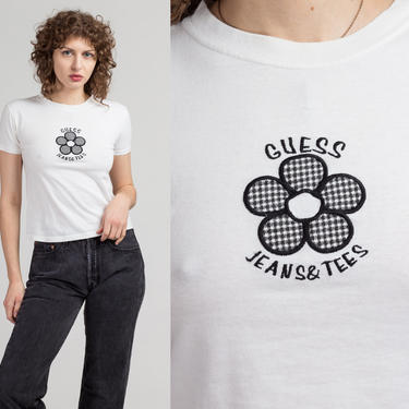 Vintage Guess Jeans & Tees Crop Top Tee - Extra Small   90s White Flower Logo Cropped T Shirt by FlyingAppleVintage