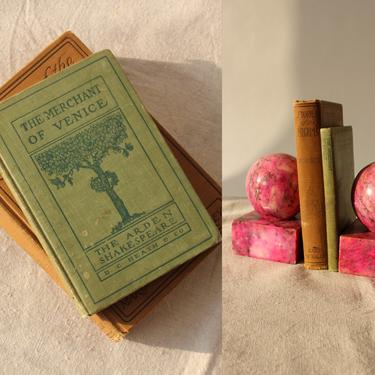 Antique Early 1900s Hardcover Book Set of 2 | Shakespeare, The Merchant of Venice |  Rustic Home, Library, Coffee Table Decor | 1910s Books by TheVault1969