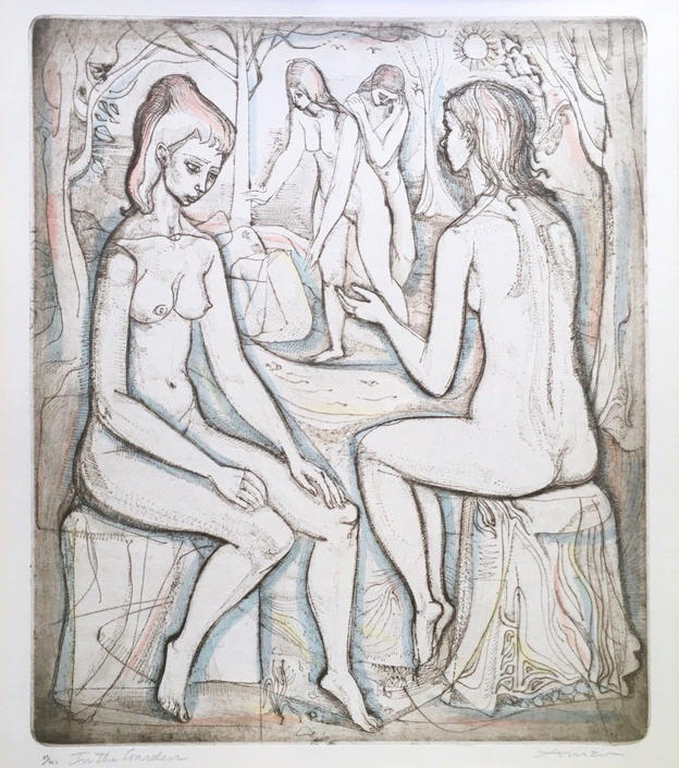 Irving Amen Etching Female Nude Bathers, In The Garden, 87/200 Signed 1960s MCM by templeofvintage