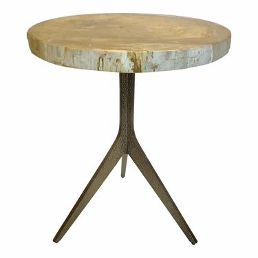 Caracole Modern Sis-Boom-Bah Taupe Petrified Wood End Table