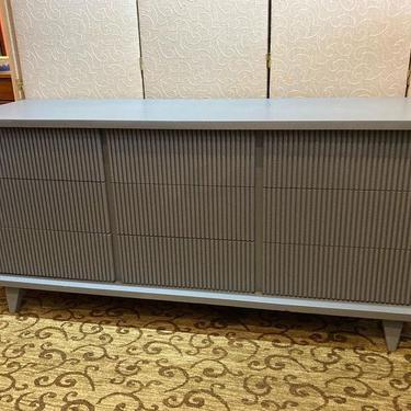 "Unique mid century gray dresser. 9 drawers. 65"" x 20.5"" x 30.5"""