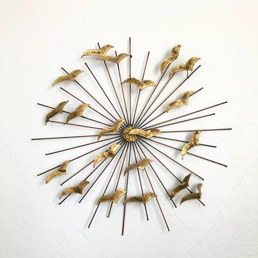 Mid Century Brass Seagull Sunburst Wall Hanging by SergeantSailor