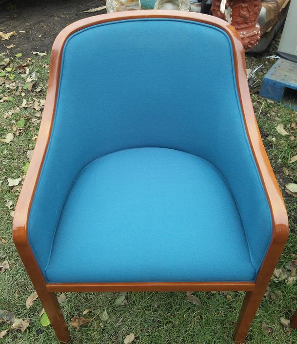 Mid Century Modern Ward Bennett Armchairs made for Brickel Eames Era Teal Blue Chairs by 3GirlsAntiques
