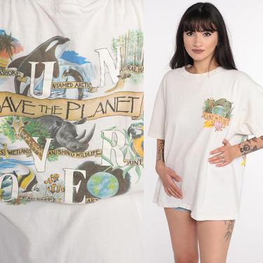 Earth Shirt Save The Planet Tshirt Y2K Animal Tshirt Environmentalist Graphic T Shirt Planet 00s Lowry Park Zoo Vintage Retro Tee Large by ShopExile