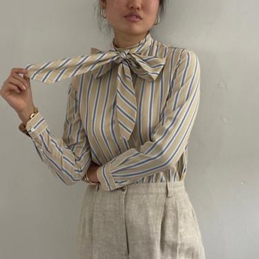 80s Calvin Klein cotton blouse / vintage cotton beige blue pinstripe cotton mandarin collar blouse with ascot pussy bow tie | S by RecapVintageStudio