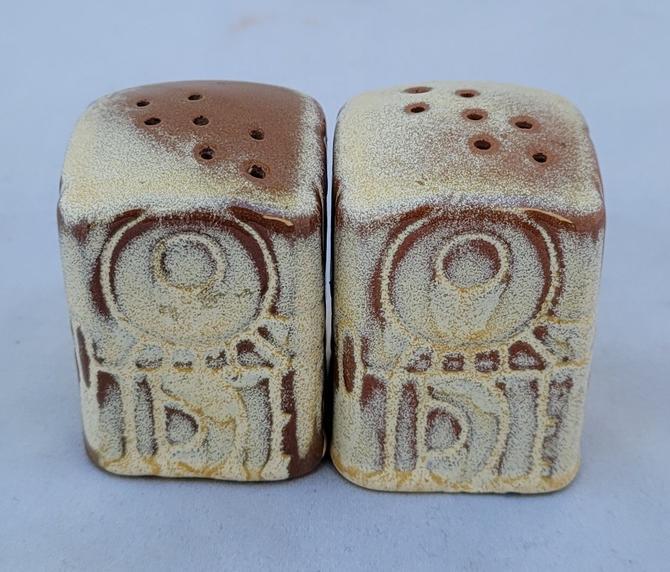 "Vintage Frankoma ""Mayan Aztec Desert Gold"" Salt and Pepper Shakers"