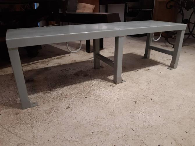 Vintage industrial steel prison bench by StateStreetSalvage