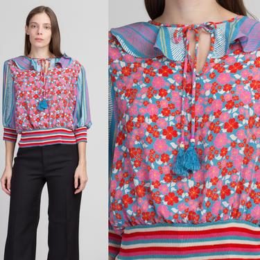 80s Diane Freis Floral Striped Tassel Blouse - Medium   Vintage Boho 3/4 Sleeve Colorful Ruffle Collar Top by FlyingAppleVintage