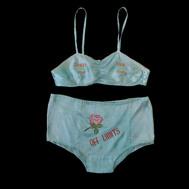 """RARE! 1940s Lingerie Set / 40s WWII Satin Novelty Bra and Panties  / """"Off Limits"""" """"Sweet Sour Don't Touch"""" by GuermantesVintage"""