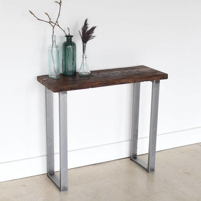 Live Edge Reclaimed Console Table / Industrial Live Edge Console Table by wwmake