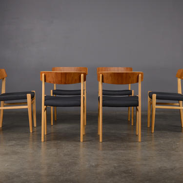 6 Mid Century Dining Chairs Dux Teak and Beech by MadsenModern