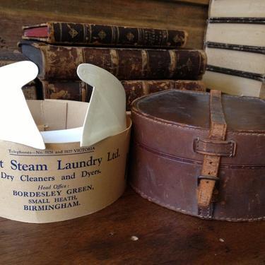 Round Leather Collar Box and English Collar, Antique English Gentlemens Leather Collar Box by JansVintageStuff