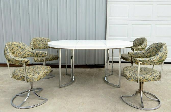 VTG Mid Century CHROME DINETTE DINING CHAIRS & TABLE SET Space Age TULIP SWIVEL