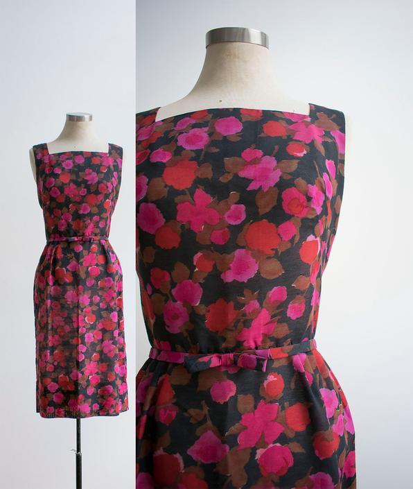 Vintage Floral Cocktail Dress / 1960s Cocktail Dress / Pink and Black Dress / Pin Up Dress / 1960s Mad Men Dress / Vintage Cocktail Dress by milkandice