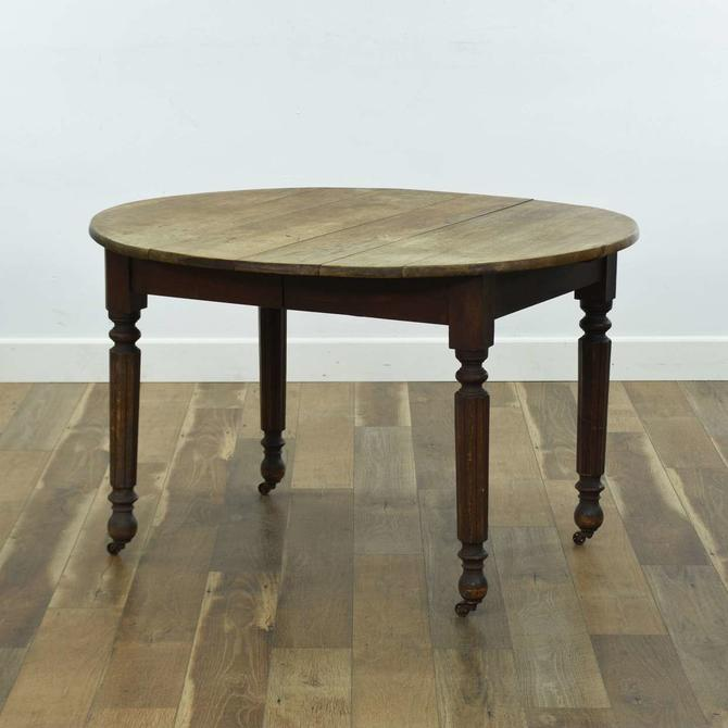 American Provincial Dining Table W Casters