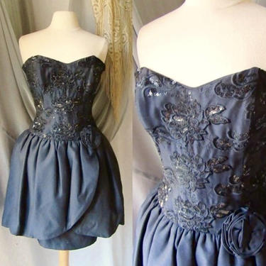REDUCED PRICE Vintage Bustier Dress, Cocktail, 80s Does 50s, Full Peplum Over Pencil Skirt,  Party Dress Sweetheart by GabAboutVintage