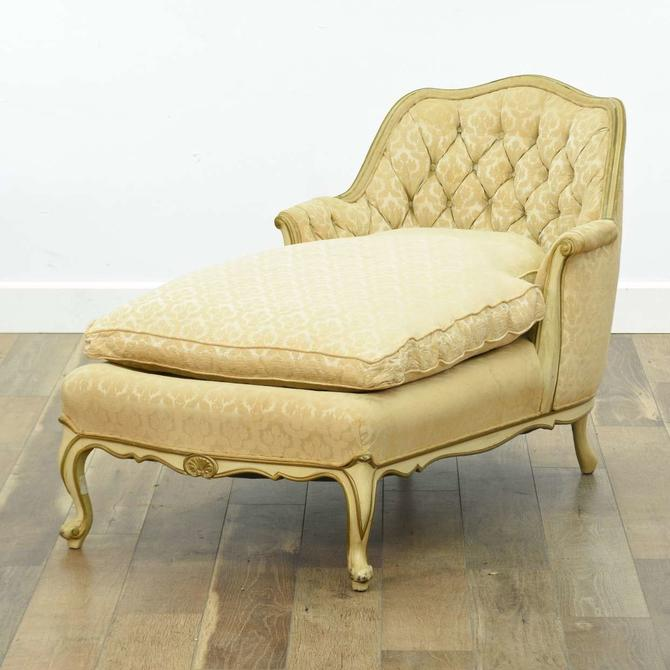 Hollywood Regency Style Tufted Back Chaise Lounge