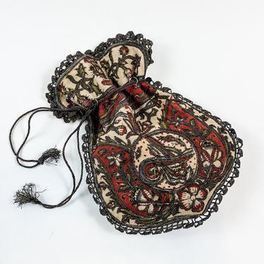 1900s Orange & Beige Embroidered Evening Bag | 1900s Drawstring Bag by GlennasVintageShop