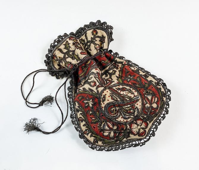 1900s Orange & Beige Embroidered Evening Bag   1900s Drawstring Bag by GlennasVintageShop