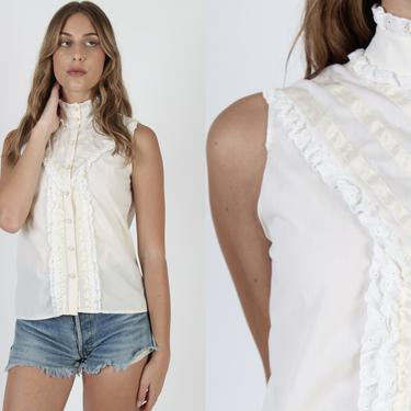 Vintage 70s Cream Tuxedo Ruffle Blouse Ivory 1970s Sleeveless Lace Top Plain Solid Prairie Folk Floral Button Down Shirt by americanarchive
