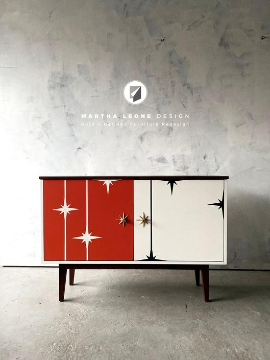 New Hand-Crafted Walnut 2-Door Bar / Credenza with Retro Design by MarthaLeoneDesign