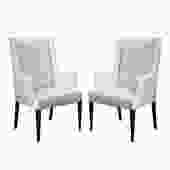Tommi Parzinger Elegant Pair of Upholstered Arm Chairs 1950s