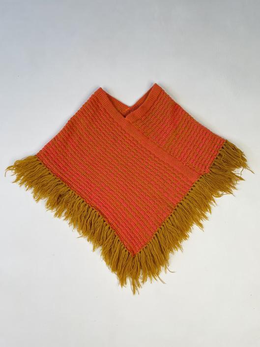 Super Soft 1960's Orange Fringe Kiddo Pancho