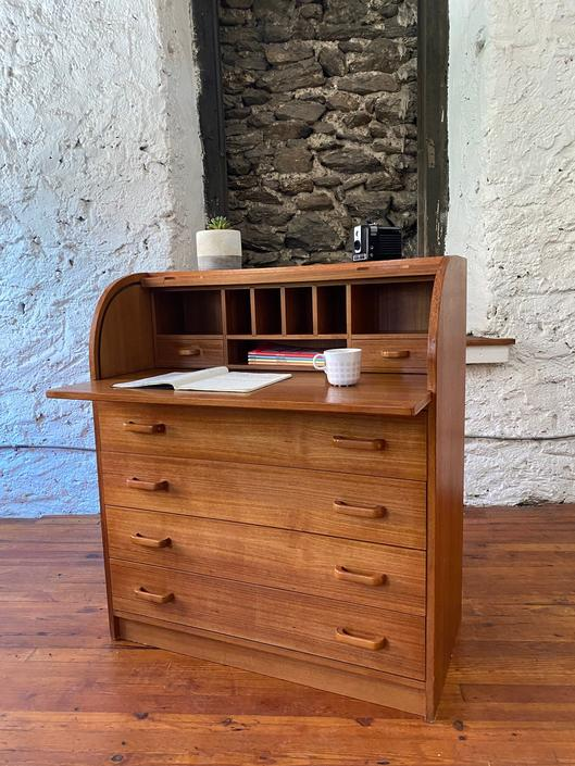 Mid century roll top desk Danish modern secretary desk mid century entryway desk by VintaDelphia