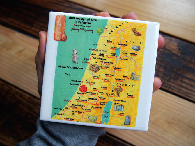 1983 Palestine Archaeological Sites Handmade Repurposed Vintage Map Coaster - Ceramic Tile - Repurposed 1980s Funk and Wagnalls Atlas by allmappedout