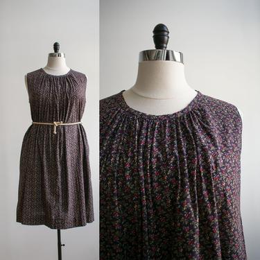 1970s Miniature Floral Cotton Dress / Vintage 1970s Calico Dress / Vintage Plus Sized Vintage / Floral Tent Dress XL / Cotton Trapeze Dress by milkandice