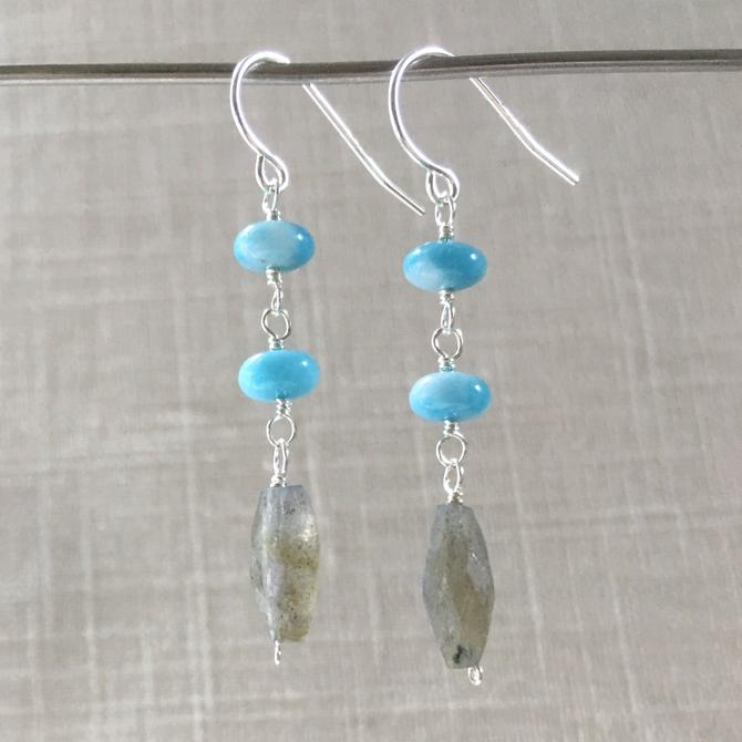Larimar + Labradorite Earrings by nonasuch