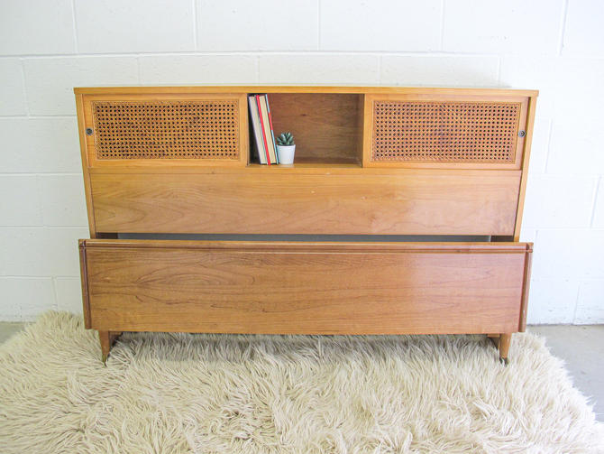 Mid-Century Modern Full/Double Sized Bed Frame with Cane Sliding Doors and Storage by PortlandRevibe