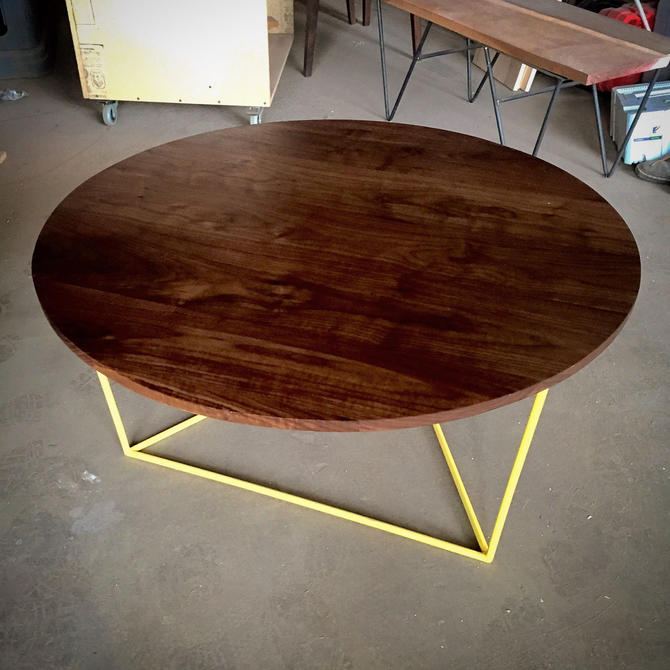 Modern Round Coffee Table with Solid Walnut Top and Triangle Steel Base by PWHFurniture