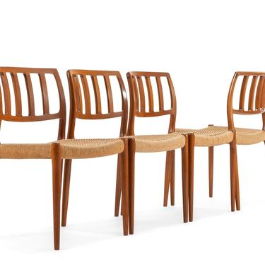 Set of Four (4) Model 83 Teak Dining Chairs Niels Otto Møller for J.L. Moller w/ Paper Cord Seats, Denmark by ABTModern