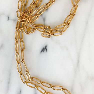 vintage 1990s Monet Gold Chain Long Necklace by MsTips
