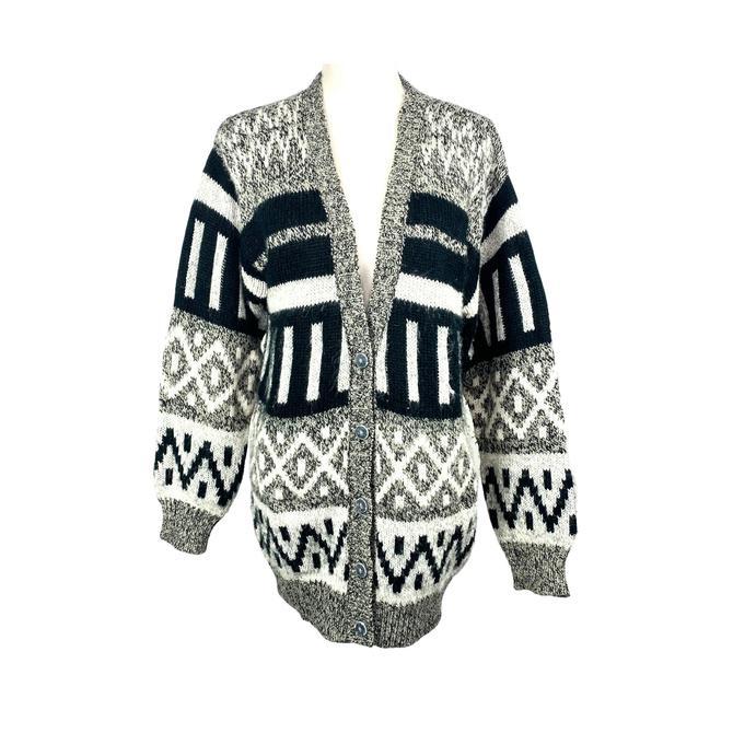 Vintage Cardigan Sweater 80's Southwestern Print Diversity Brand Button Up V Neck Cardigan Black Gray White Size M by DakodaCo